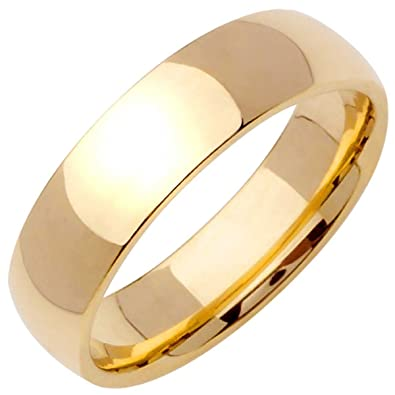 2db39890f5868 18K Yellow Gold Traditional Classic Men's Comfort Fit Wedding Band ...
