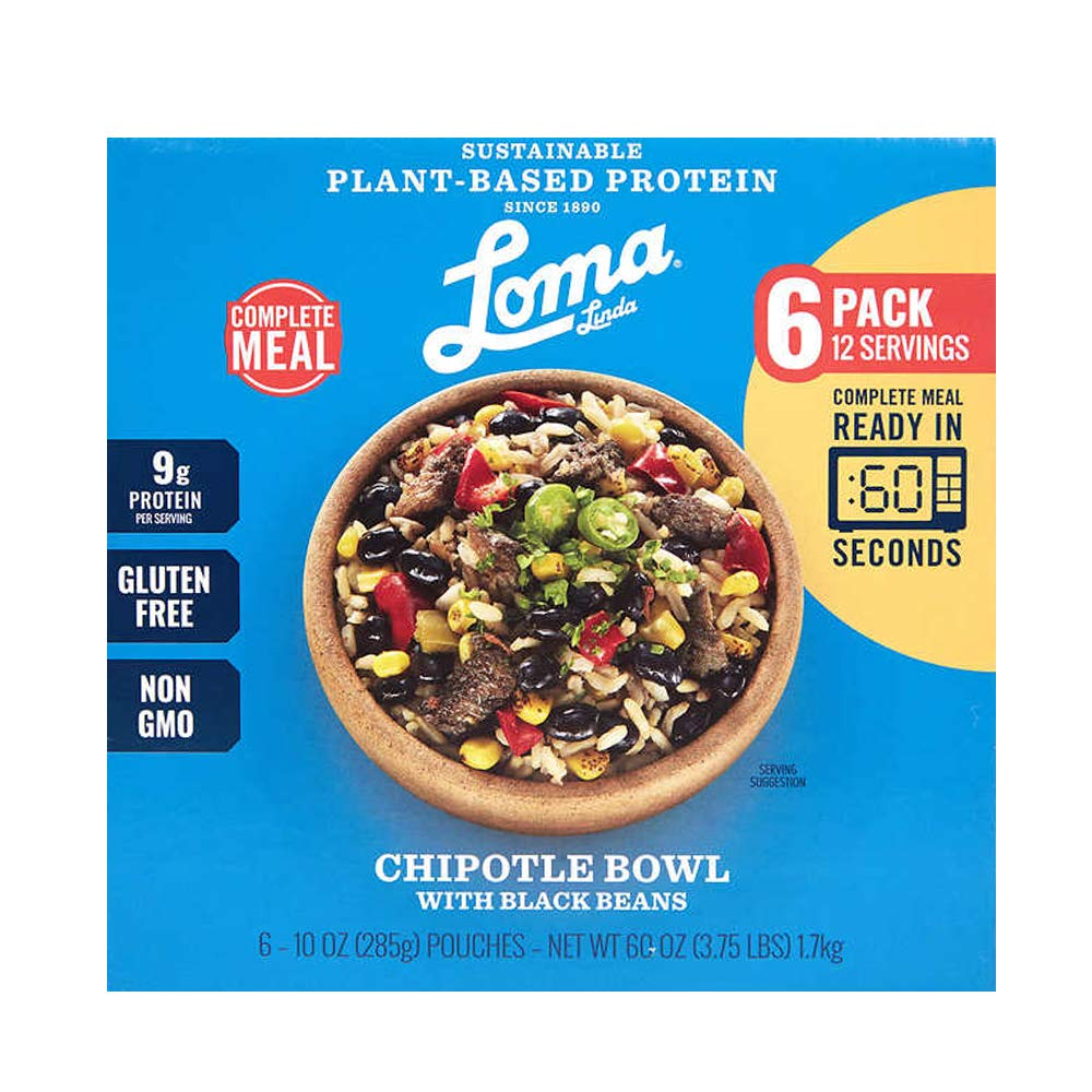 Loma Linda - Plant-Based Complete Meal Solution - Chipotle Bowl - Heat & Eat (10 oz.) (Boxed 6 Pack) - Non-GMO, Gluten Free