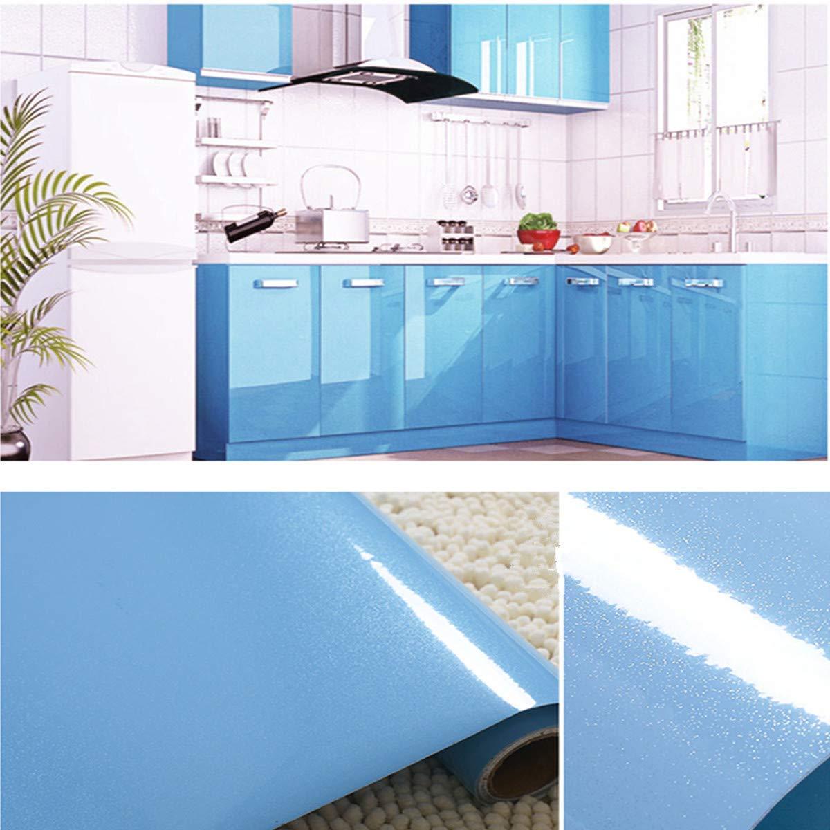 PVC Engomada Autoadhesivo Protege o Decora Armario y Aparatos El/éctricos Papel Pintado para Muebles//Cocina//Ba/ño,Impermeable Pegatina,40cm * 5M Azul Vinilo Pegatina Muebles de Cocina