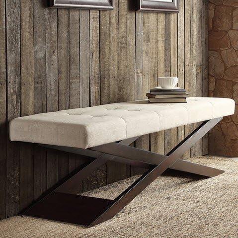 Inspire Q Bosworth Tufted Beige Linen Wood X Base Indoor Bench Ottoman for Living Room Bedroom or Hallway