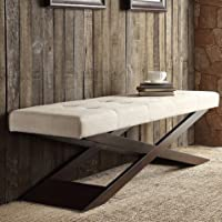 Deals on iNSPIRE Q Classic Bosworth Beige Linen Wood X Base Bench