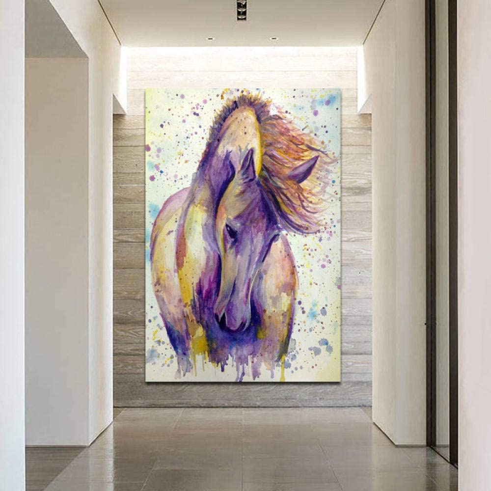 Decoración de arte de paredListo para colgar SELFILMENTE Carteles de arte de pared Acuarela Arte de animales de caballo Cuadros decorativos para sala de estar Lienzo Impreso Cuadros Decoraci