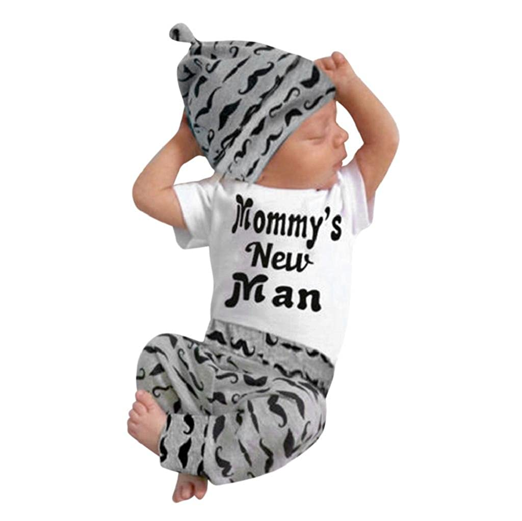 Yamally_9R 3Pcs Newborn Baby Boy Romper Short Sleeve Letter Tops+Beard Print Long Pants Outfits Clothes+Free Cute Hat
