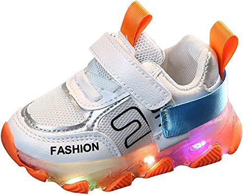 Boys Girls Kids Trainers Shoes Sneaker Faux Leather Infant Toddler Casual Shoes