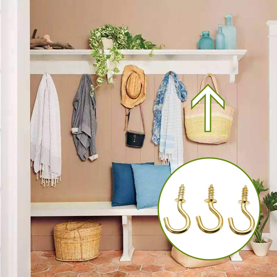Pack of 50 Small Screw in Hooks Brass Ceiling Hooks 1//2 inch for Hanging Jewelry Keyring Ornament