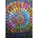 Tie Dye Mandala Wall Tapestry, Indian Cotton Bedding Single, Bohemian Wall Hanging, Boho Picnic Throw, Hippie Dorm Room Decorations, Gypsy Beach Blanket