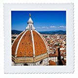 3dRose Danita Delimont - Cities - The Duomo and roofs from Giottos Bell Tower, Florence, Tuscany, Italy - 16x16 inch quilt square (qs_277638_6)