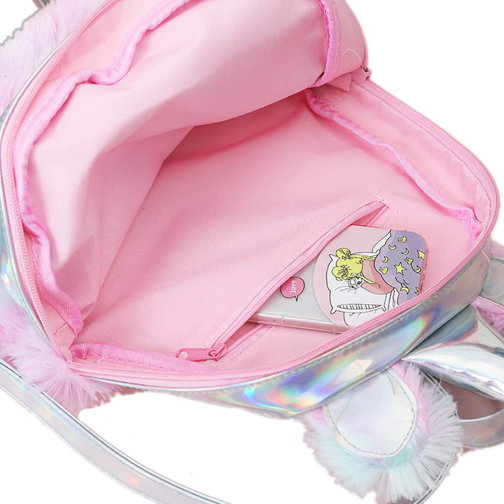 Pink Starte 2Pcs Plush Mini Unicorn Backpack with Rainbow Pencil Case Small School Bag for Girls Sweet Girls Daughter Gifts