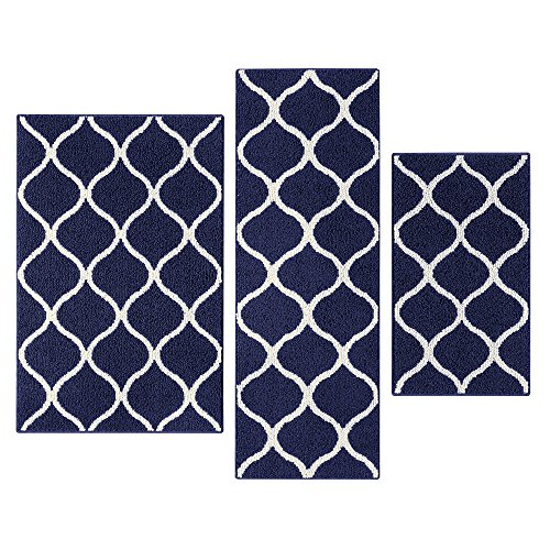 Accent Floor Rug - Maples Rugs Kitchen Rug Set - Rebecca [3pc Set] Non Kid Accent Throw Rugs Runner [Made in USA] for Entryway and Bedroom, Navy Blue/White