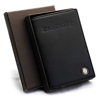 Free Engraving - Genuine Leather U.S Passport Cover - Holder for Mens Women, Two Lines Free Customization delicate