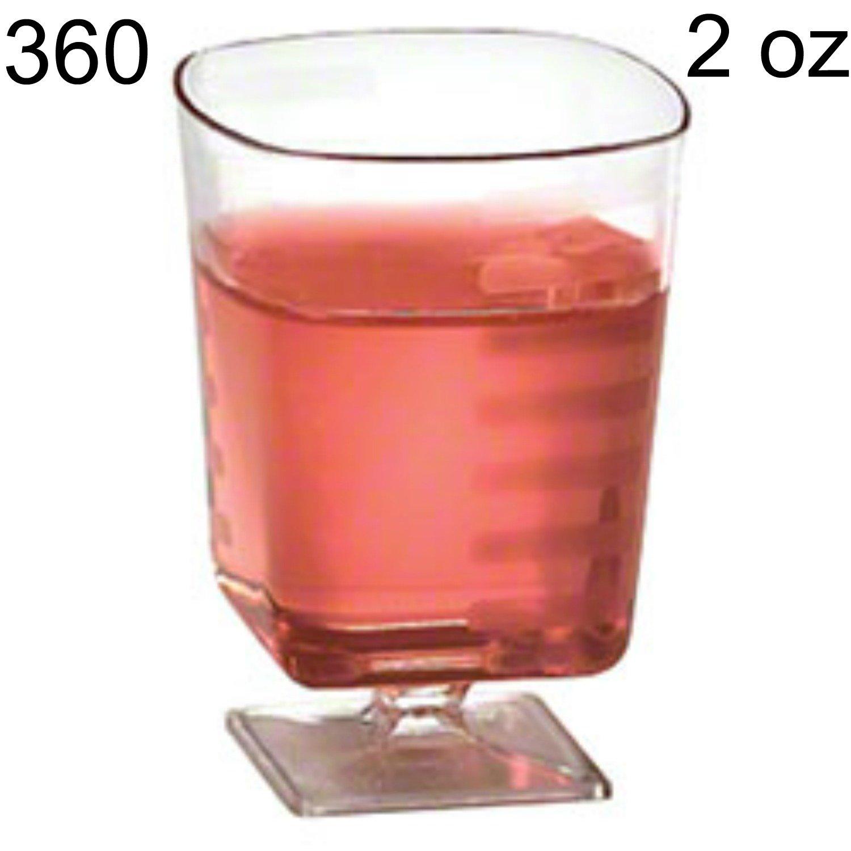 360 2 oz Mini Dessert Cups Small Dessert Glasses Small Square Clear Disposable Plastic Shot Glasses Shooter Cups Wine Tasting Sample Glass Wine Glasses Parfait Trifle Jello Pedestal Party Cups