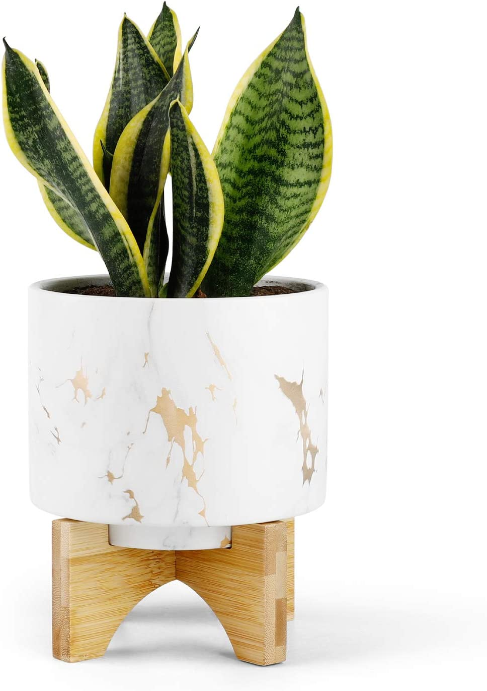 Medium Plant Pot - 5.5 Inch White Marble Ceramic Planters for Small Snake Plant Seeding, with Arched Bamboo Stand