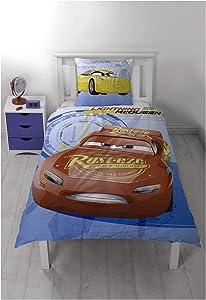 BJORNA Disney Pixar Cars 3 Reversible Duvet Cover 140 x 200 cm and Pillowcase 63 x 60 cm, 100% Cotton