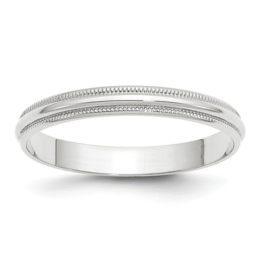 Jewel Tie 10k White Gold 2mm Half Round Wedding Band