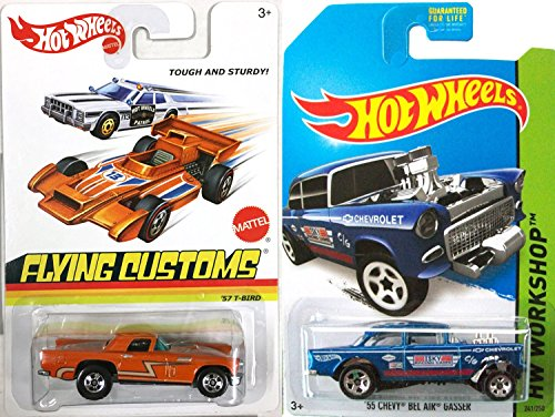 Chevy Hot Wheels Classics Set -Ford '57 T-Bird & '55 Bel Air Gasser - Blue HW Workshop & Flying Customs All Metal Special Series In PROTECTIVE CASES (Classic 57 Bel Car Air)