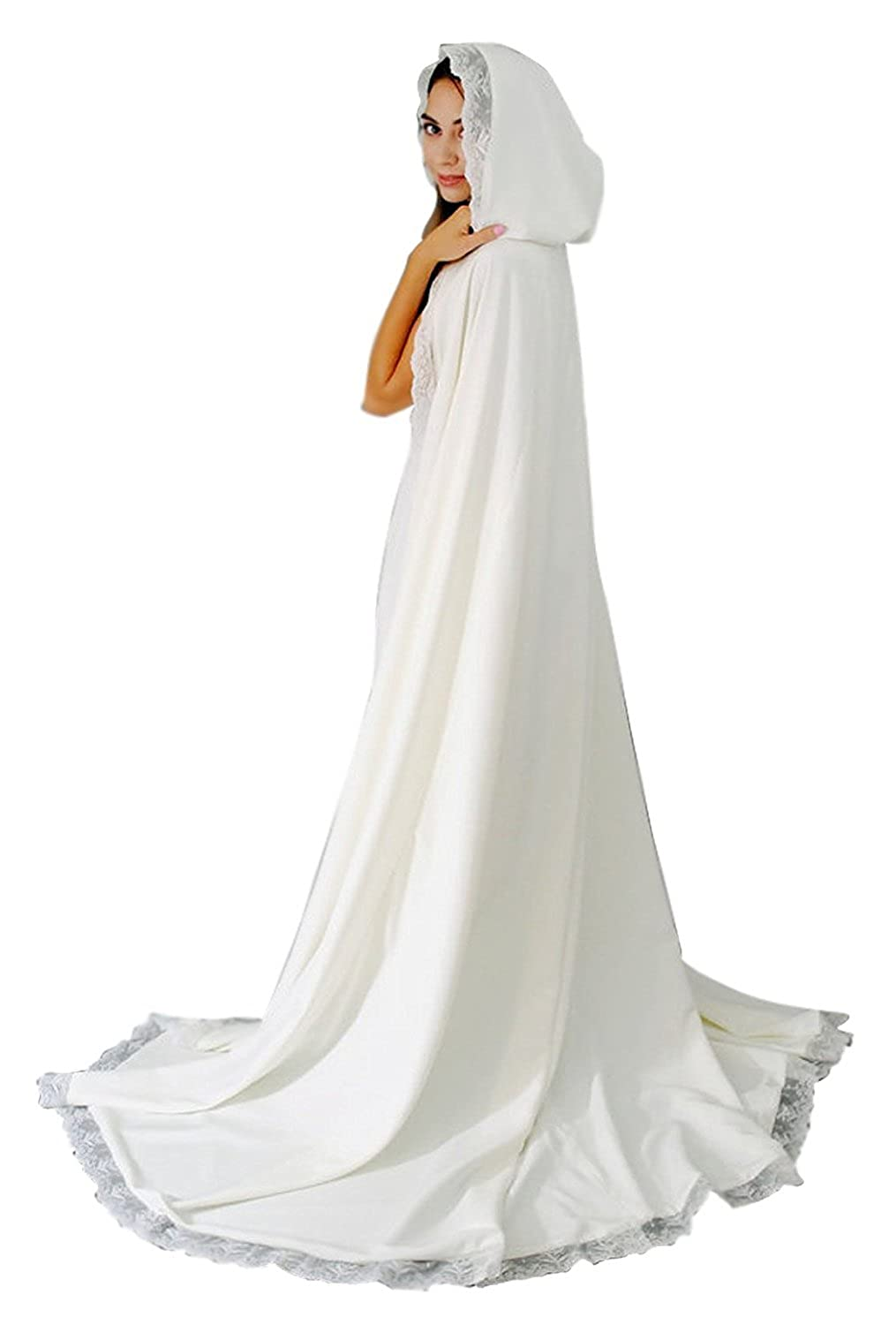 Women's Long Wedding Cape Hooded Cloak for Bride Lace Edge