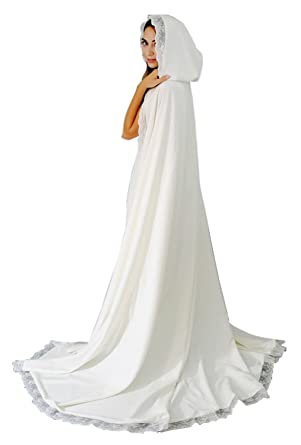 c772bb9fc7 Amazon.com  Women s Long Wedding Cape Hooded Cloak for Bride Lace Edge   Clothing