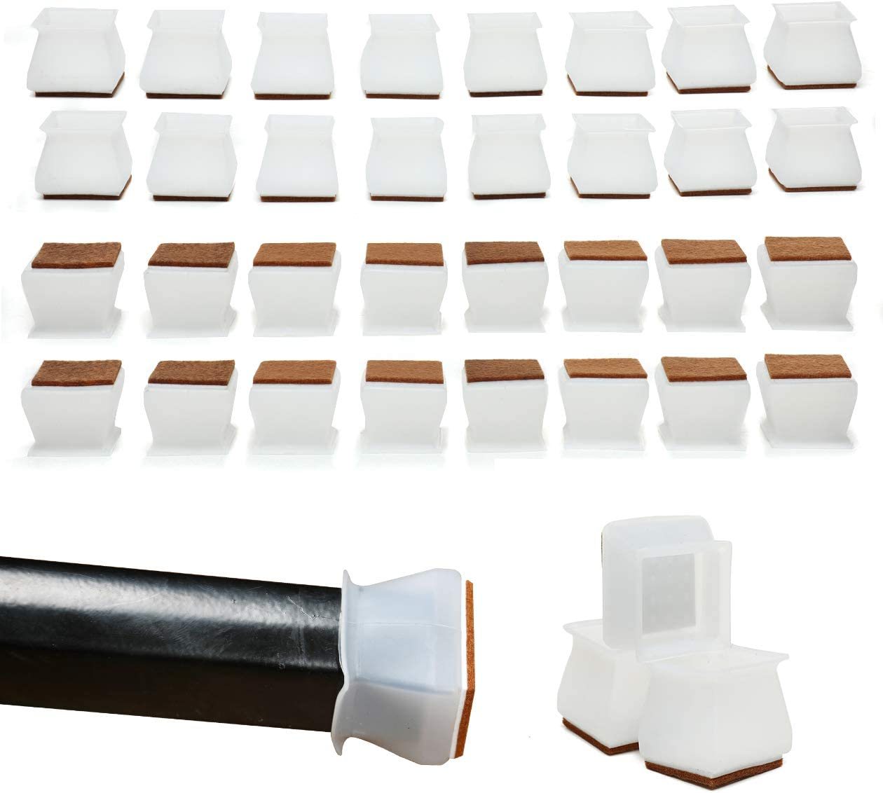 Aeepd Chair Legs Caps 32pcs Square Floor Protectors Furniture Silicon Anti-Slip Protection Cover with Felt Pads