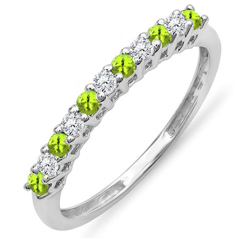 10K White Gold Round Peridot & White Diamond Anniversary Stackable Wedding Band (Size 7)