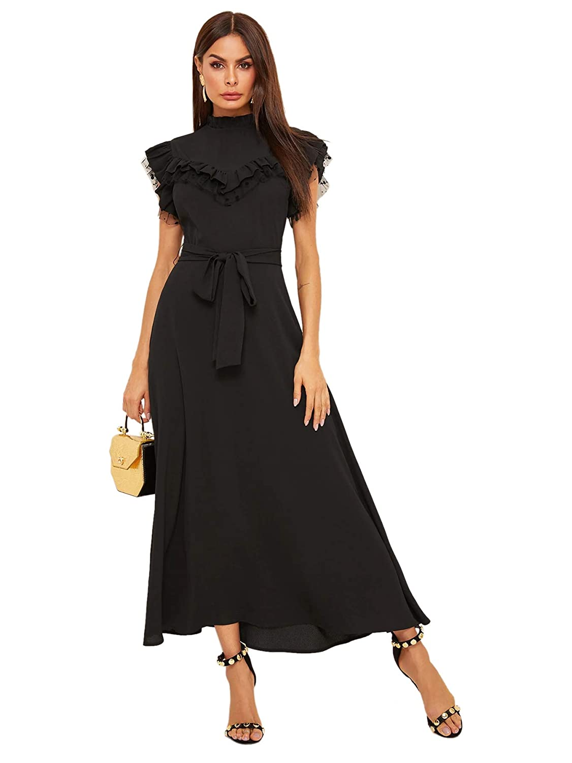 500 Vintage Style Dresses for Sale | Vintage Inspired Dresses Verdusa Womens Frill Mock Neck Flutter Sleeve Layered Belted Party Maxi Dress $36.99 AT vintagedancer.com