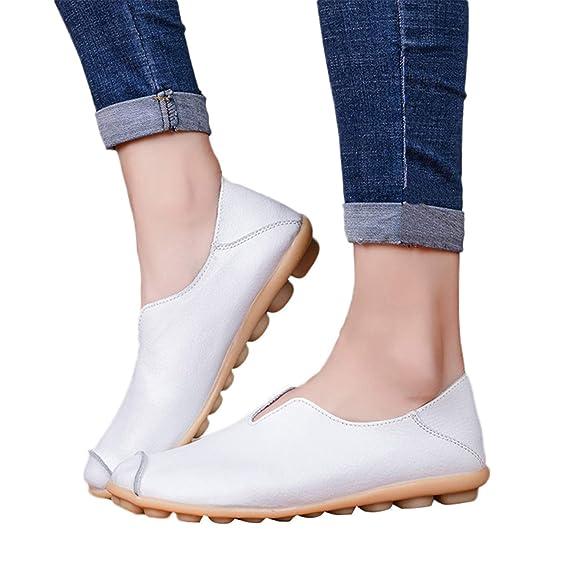 Mujer Mocasines De Cuero Artificial Loafers Casuales Zapatillas Planas Zapatos Suave Ocio Pisos Vintage Calzado En Suelas Cómodas De Verano Primavera Aire ...
