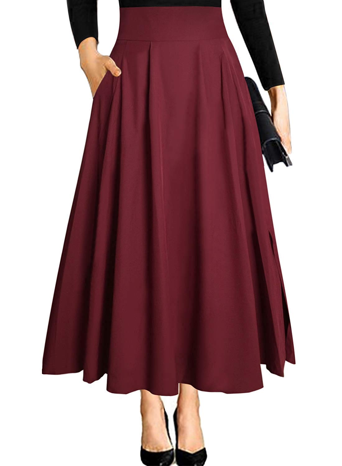 FIRENGOLI Sara Love Women's Casual Flowy Dress High Waist Pleated Midi Skirt with Pockets Red