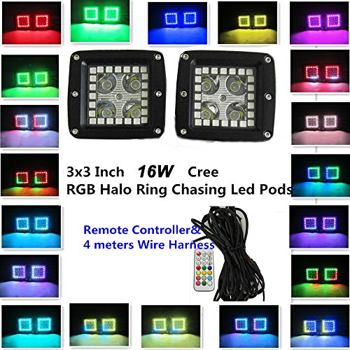 IOV LIGHT 2Years Warranty 2PCS 3X3Inch 16W CREE Led Work Light with RGB Halo Ring Chasing Remote Controller Color Morph 12 Solid Colors and over 36 Flashing Modes Offroad SUV - Morph I