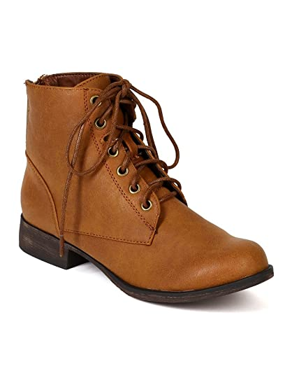Breckelles BD90 Women Leatherette Military Lace Up Ankle Bootie - Tan
