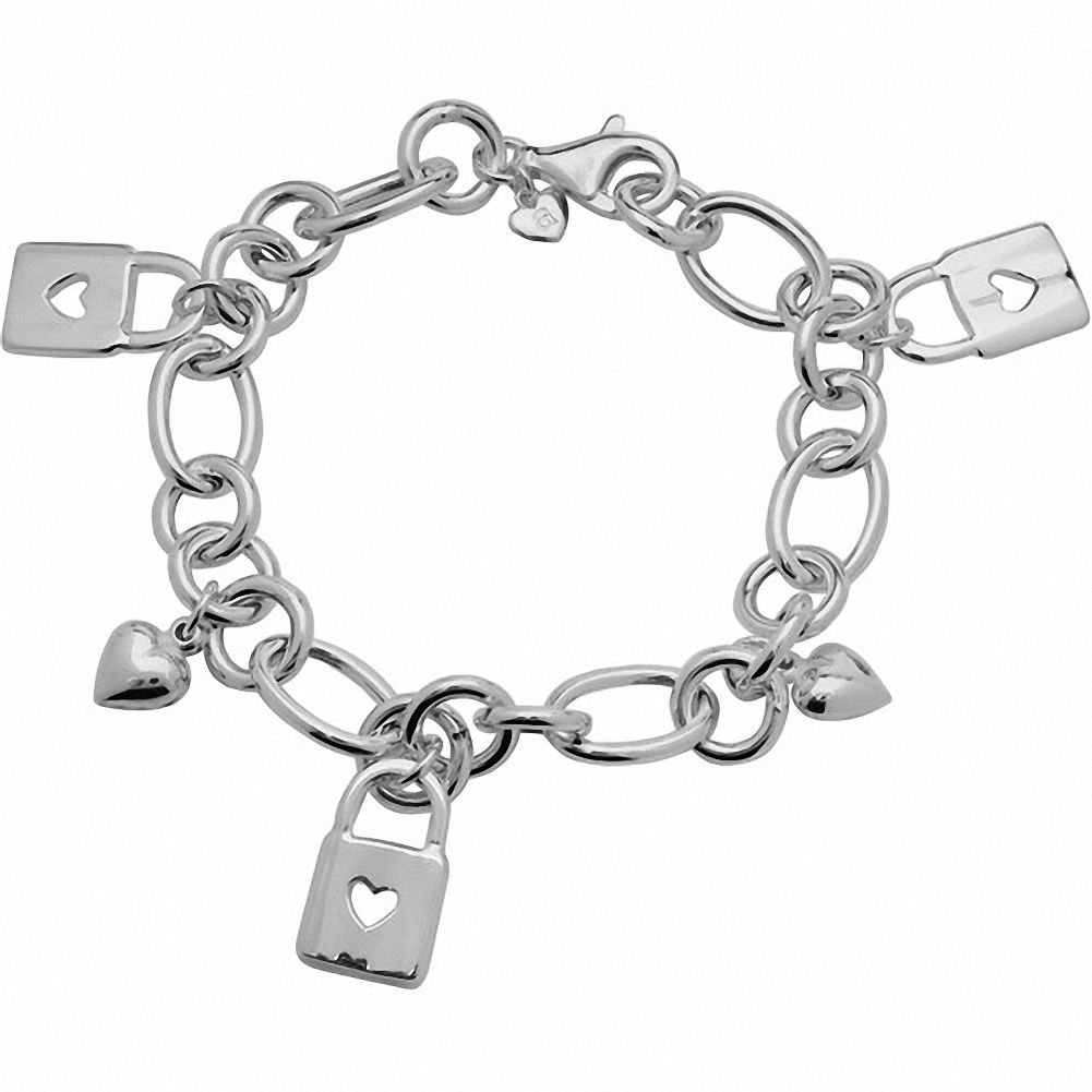 Amoro Polished 925 Sterling Silver Heart and Lock Charm bracelet, 7.5''