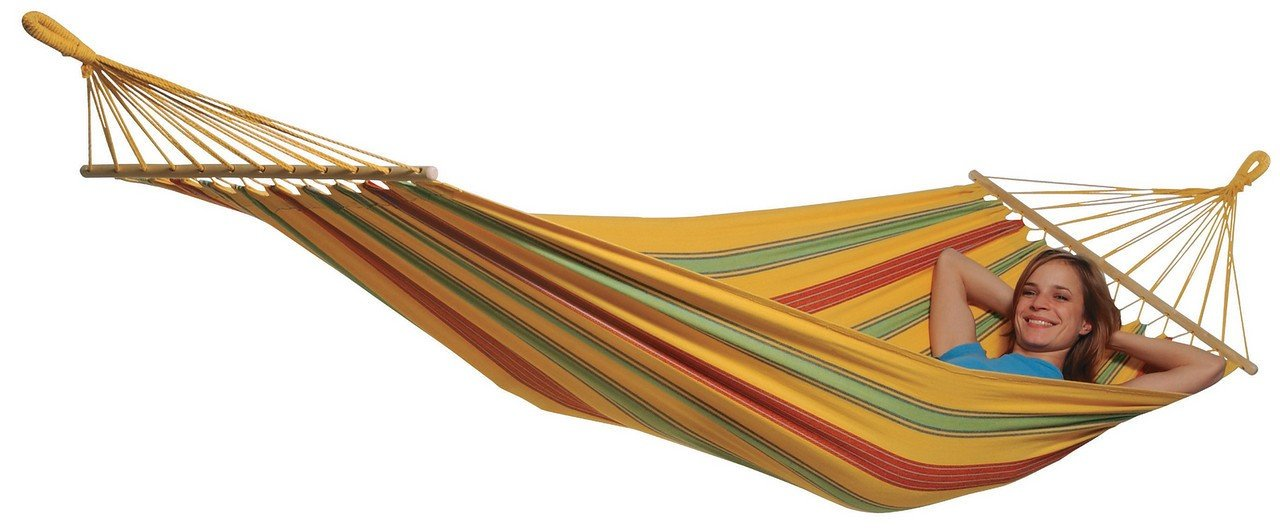 "Byer of Maine Aruba Outdoor Hammock, Woven from Weather-Resistant EllTex Polyester/Cotton Blend, Single Sizet EllTex Polyester/Cotton Blend, Single/Twin Size, Yellow - While away the long summer days in comfort outdoors with our cheerful Aruba hammock. This hammock promises to be more comfortable than your favorite pair of jeans. This hammock is 47"" wide and stretches from 126"" to 134"" long after first few uses (actual length will vary depending on user). It is designed to hold one person with room to spread out, up to 330lbs. Woven from groundbreaking EllTex hybrid polyester/cotton blend, this hammock is designed to remain soft and strong while withstanding UV rays and weather damage. - patio-furniture, patio, hammocks - 61szQn90RlL -"