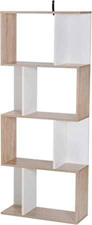 homcom Libreria di Design Scaffale Ufficio Legno Moderna 3 Ripiani 60 /× 24 /× 111.4cm