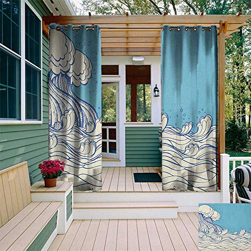 leinuoyi Nautical, Outdoor Curtain Set, Abstract Doodle Style Wave in The Ocean Sea Soft Color Palette Marine Life Image, Fabric W108 x L108 Inch Cream Blue