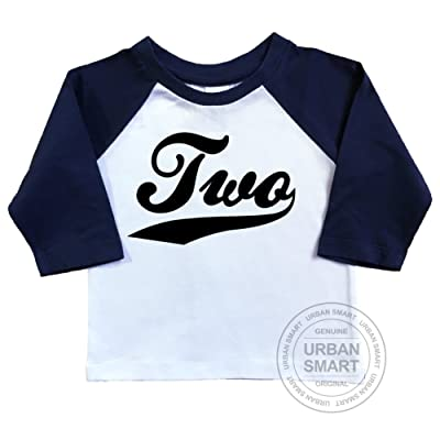 2nd Birthday Raglan Shirt by Urban Smart. Number Two With Swoosh Design.