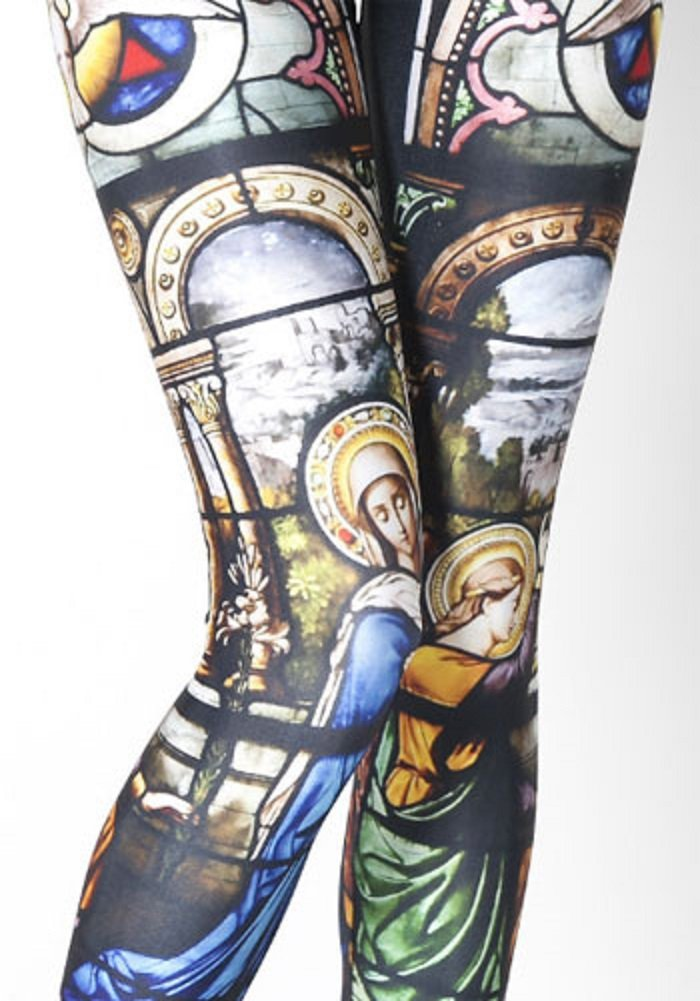 Lucky Girl Stained Glass Holy Religious Leggings (One Size (S/M), Stained Glass)