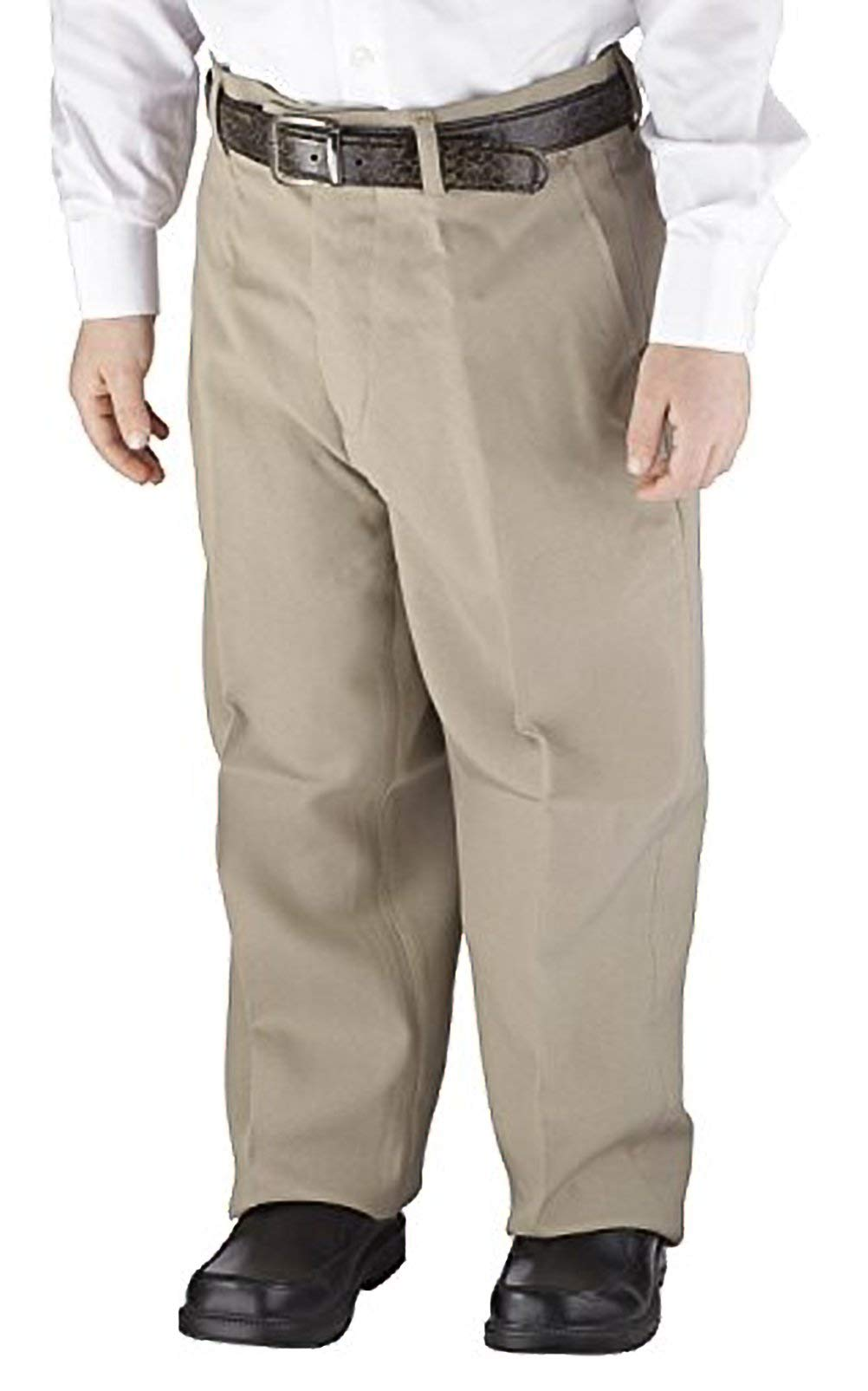 Victorio Cuture Solid Belted Flat Front Slim Fit Boys Dress Pants (Beige, 16)