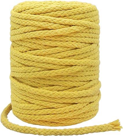 Cordón de macramé de 55 yardas de 5 mm, resistente cuerda de macramé de algodón para manualidades, regalos (amarillo): Amazon.es: Oficina y papelería