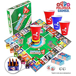 DRINK-A-PALOOZA Board Games: Party Drinking Games for Adults - Game Night Party Games   Fun Adult Beer Games Gift with Beer Pong + Flip Cup + Kings Cup Card Games + More!