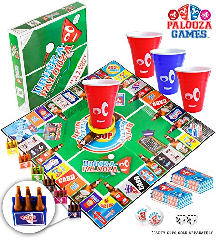 DRINK-A-PALOOZA Board Game: Fun Drinking Games for Adults & Game Night Party Games | Adult Games Combo of Beer Pong + Flip Cup + Kings Cup Card Games + More! (Best Gifts For Guys)