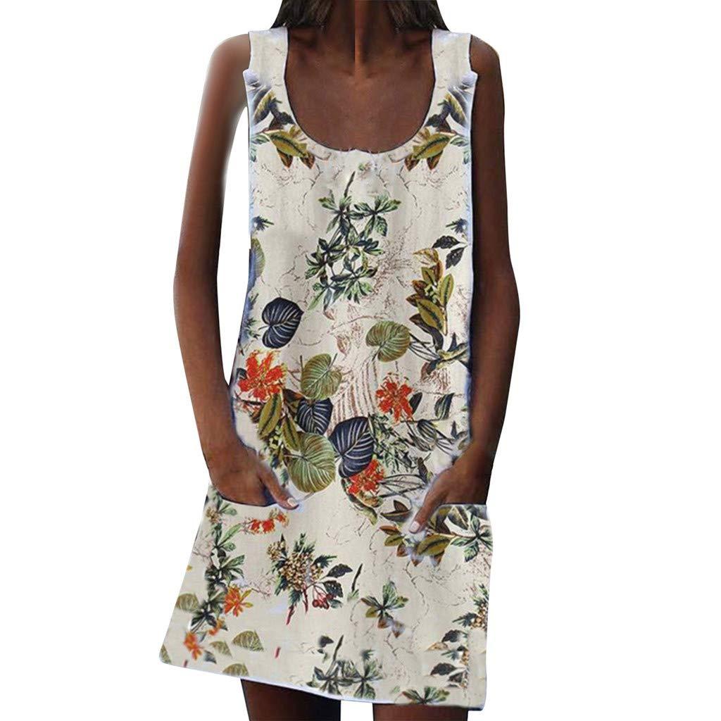 2019 Womens Summer Vintage Print Dress Sleeveles O Neck Pocket Casual Loose Mini Beach Dresses (White, S)