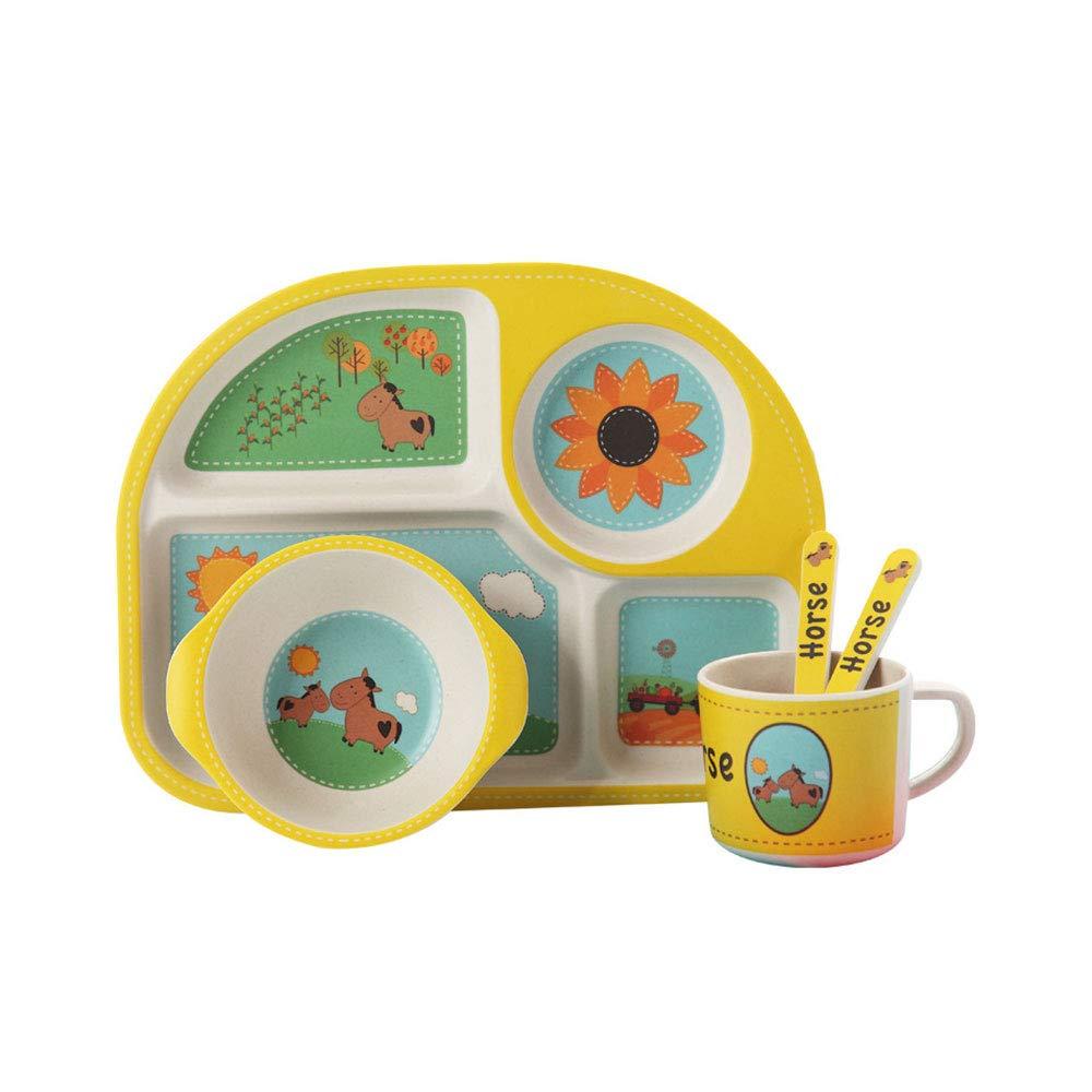 子供用カトラリーセット ベビーバンブーファイバー製食事トレイセット ボウルカップスプーンフォーク 5個/ポニーパターンカトラリートレイ   B07MLWBWBD