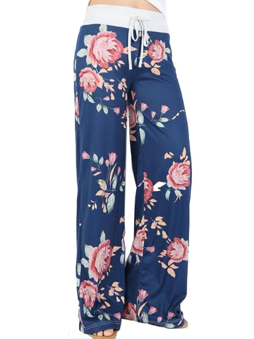 iChunhua Women's Comfy Stretch Floral Print Drawstring Palazzo Wide Leg Lounge Pants(M,Blue)