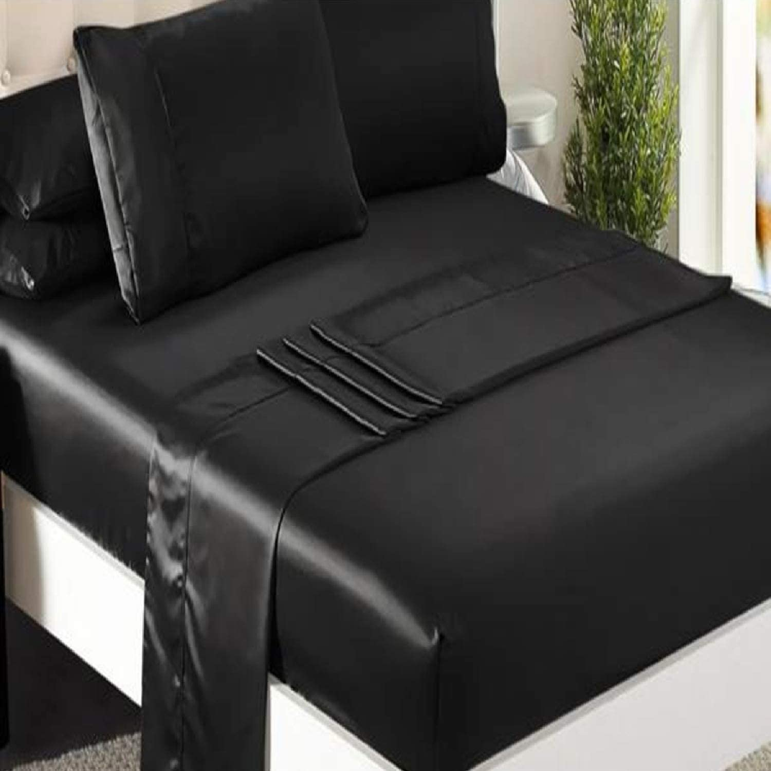 Niagara Sleep Solution Queen Bed Sheet Set 4 Pieces Black Silky Smooth Bridal Satin Deep Pocket Fitted, Flat, 2 Pillow Cases Wrinkle Stain, Fade Resistant (Black Satin, Queen)
