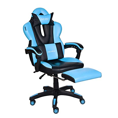 Amazing Elecwish Computer Gaming Chair With Footrest Pc Office Racing Massage Gaming Chair 900 1600 Reclining Sky Blue Gamerscity Chair Design For Home Gamerscityorg