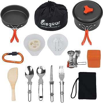 bisgear Utensilios Cocina Ollas Sartén Camping Estufa Trekking16-en-1, Ollas y Sartén Cubiertos Plegable - Set Cocina Camping para Excursión, ...
