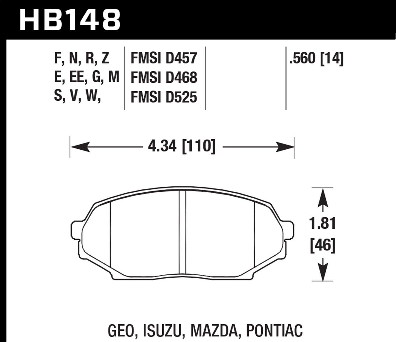 Hawk Performance HB148F.560 HPS Performance Ceramic Brake Pad