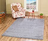 A2Z Rug Cozy Shaggy Collection 4x6-Feet Solid Area Rug - Cloud Gray