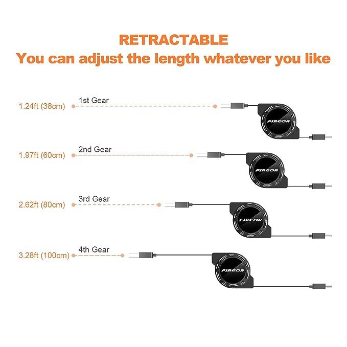 Retráctil USB C Cable (2 Unidades, 3,3 pies/1 m) fireor USB ...