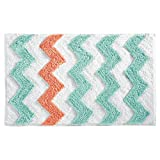 InterDesign Microfiber Chevron Bathroom Shower Accent Rug - 34'' x 21'', Aruba/Coral