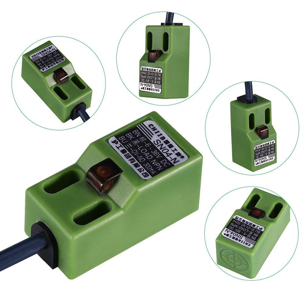 Akozon Sensor de posición de nivelación automática DC 6-36V SN04-N NPN de tres cables Verde Ajuste de posición de la cama de calor autonivelante Sensor de ...