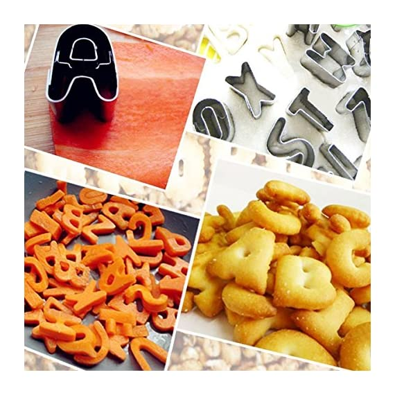 Mini alphabet and number cookie cutters set of 36 pieces stainless steel small mold tools for fondant biscuit, cake… 6 spell the words you like, the cookie cutter set with 36 pieces (26 capital letters + 0-9 numbers). You can use it directly and impress words in rolled fondant high quality durable food-grade stainless steel can through a variety of doughs easily, non-stick metal material make food releases easy mini biscuit cutters set with sharp shapes and interior cutouts for a great graphic quality. Dough releases easily from cutter, and shapes hold well during baking